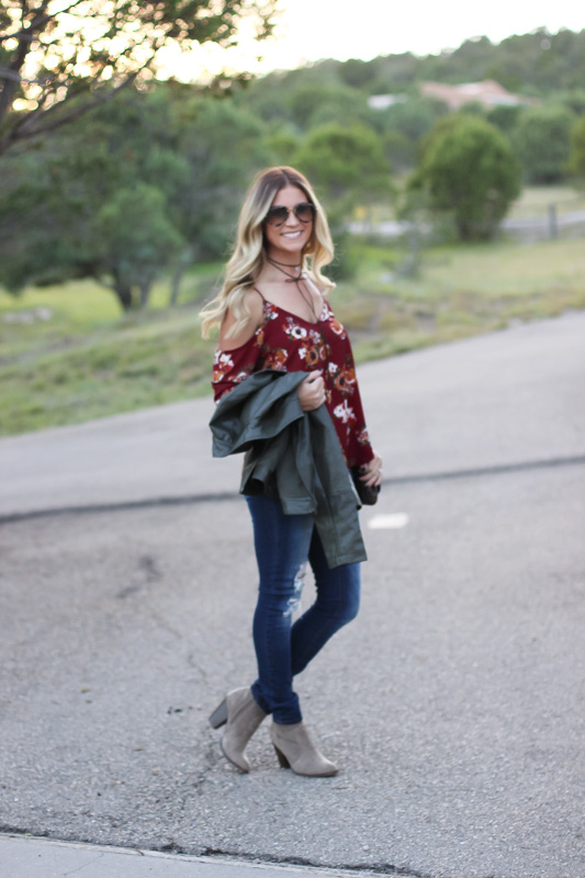 agaci cold shoulder top moto jacket fall outfit idea