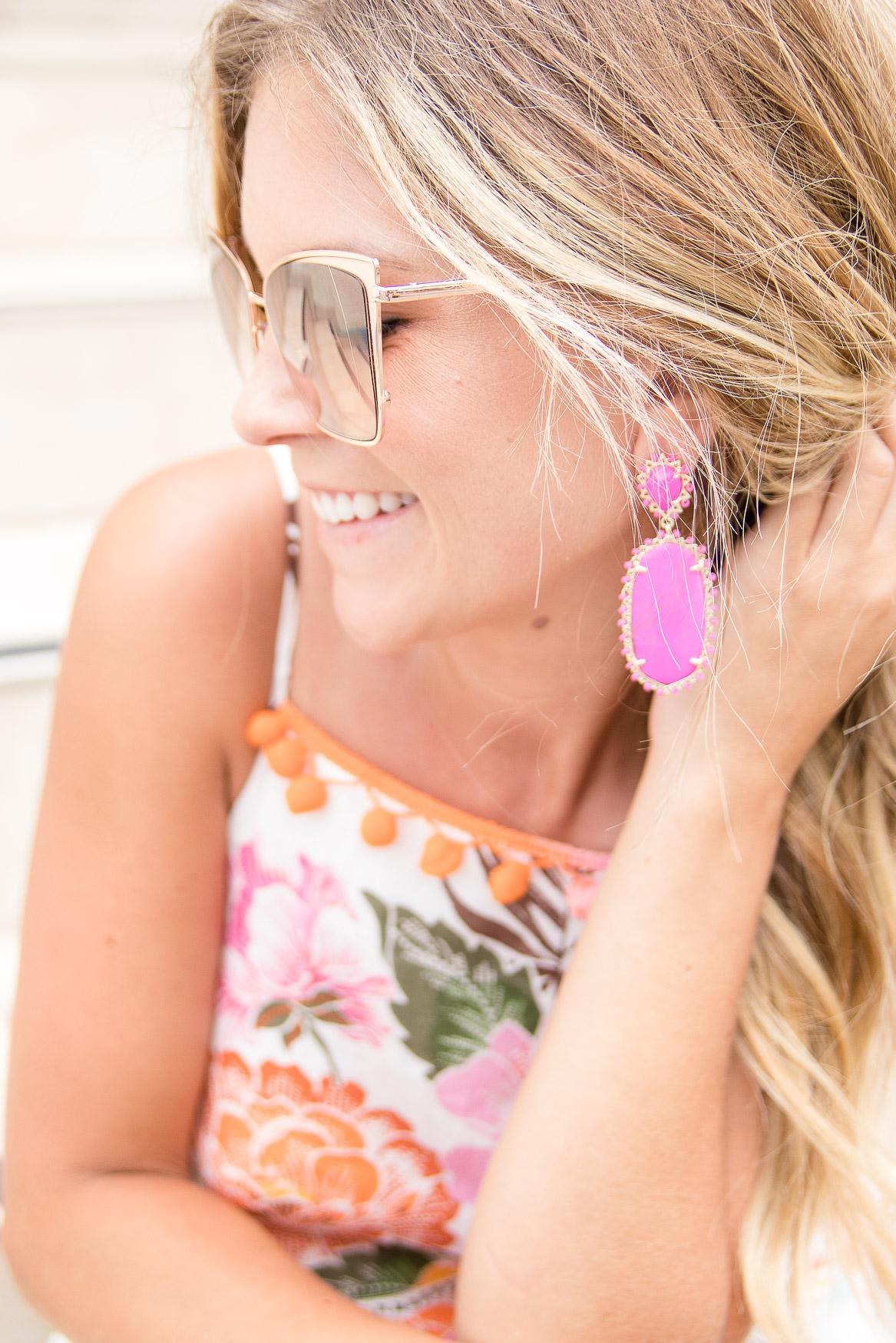 diff sunglasses Kendra Scott pink earrings