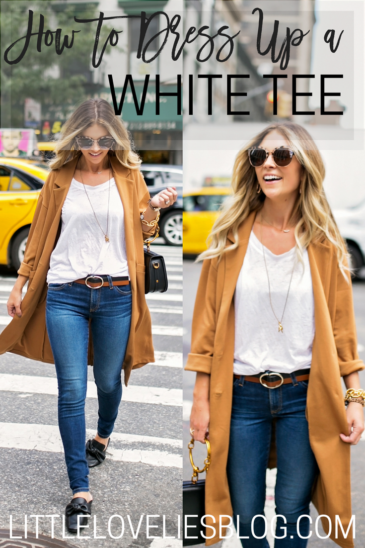 how to dress up a white tee for work or daytime meetings