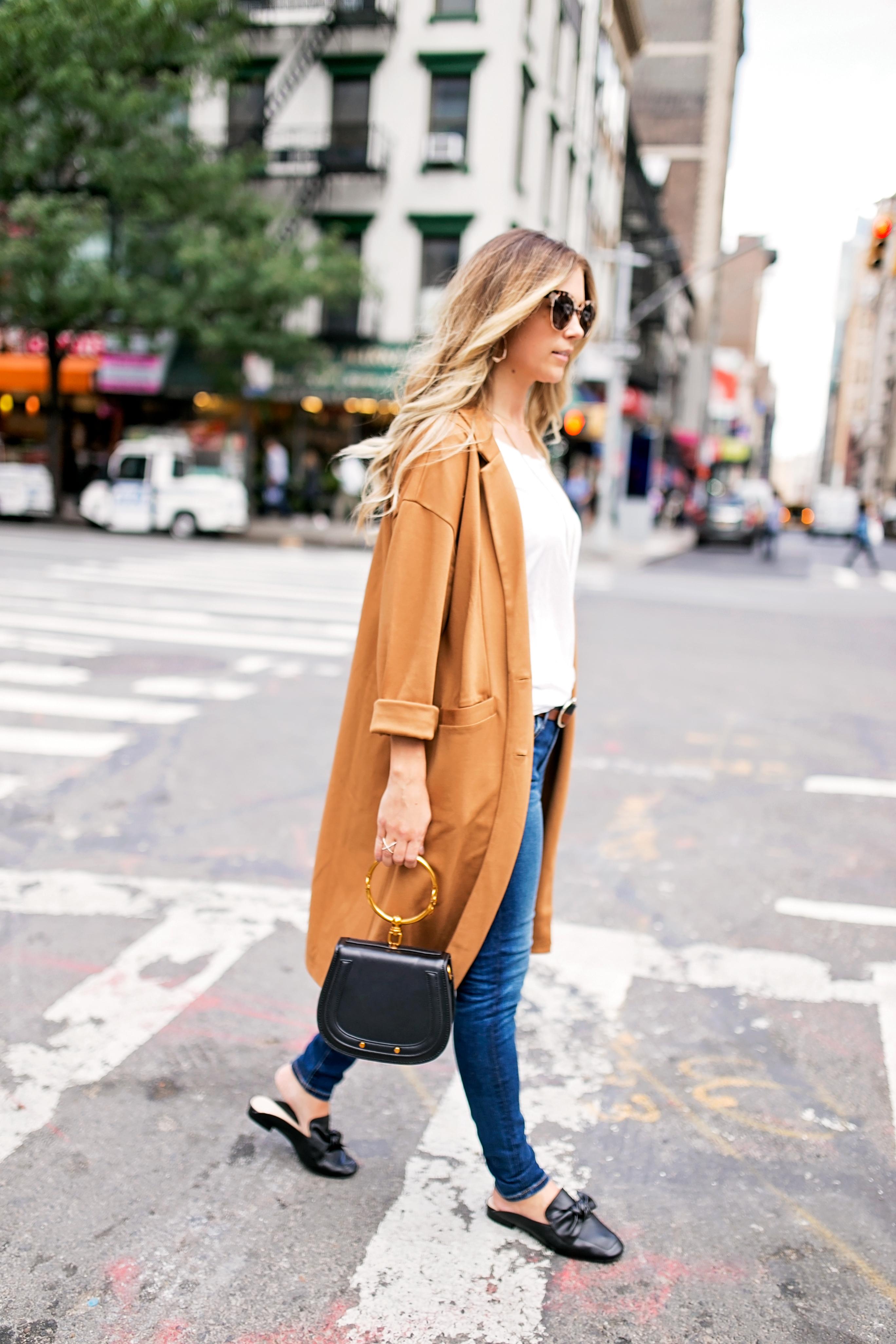 leith longline caramel jacket