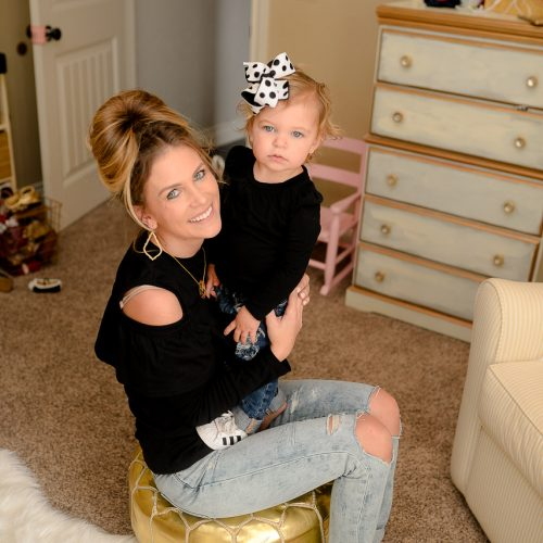 Easy mommy & me outfit with Adidas Superstar sneakers! Black top that's under $15 and accessories to make the outfit! Can't forget the baby distressed denim! Click for more...littleloveliesblog.com