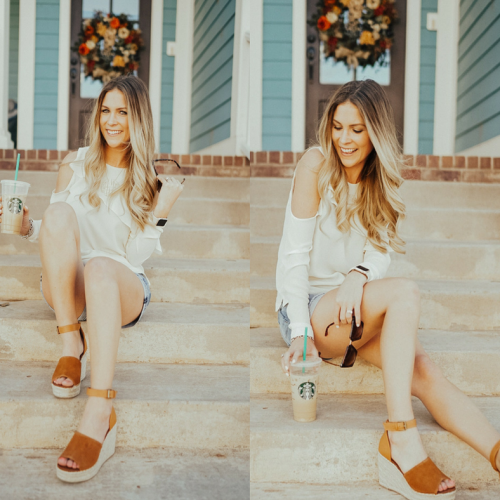 The easiest spring outfit to recreate! A lightweight top with cold shoulders, shorts that are long enough for moms but still trendy and a pair of sandals. Sandals are the dupes for Marc Fisher sandals but are $100 less! Get $10 off right now - Click through to see more, plus what my favorite #starbucks drinks are and what I'm currently listening to on my spring playlist! Visit https://ashleenichols.com// to read more!