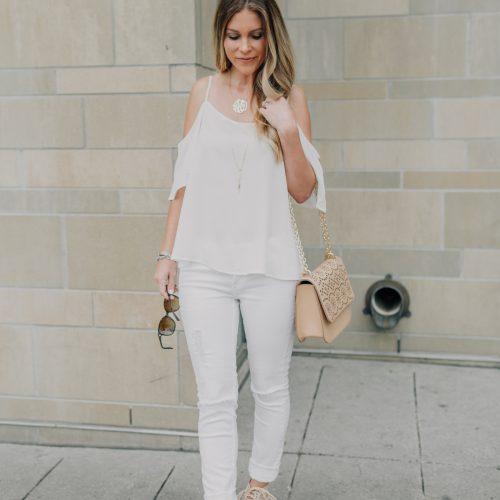 white on white with neutrals | white jeans | white camisole | Nordstrom white on white