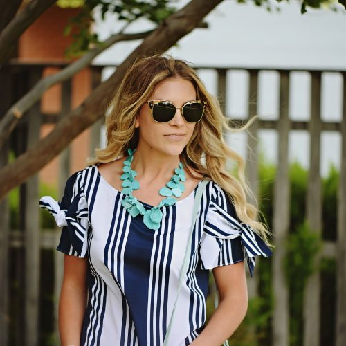 bow detail top with turquoise