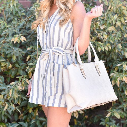 Striped Nautical Romper with Neutral Details Tassels Easy Summer Look