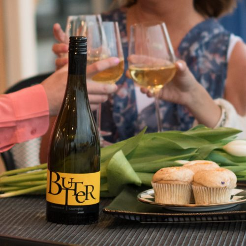 cheers to motherhood with butter chardonnay