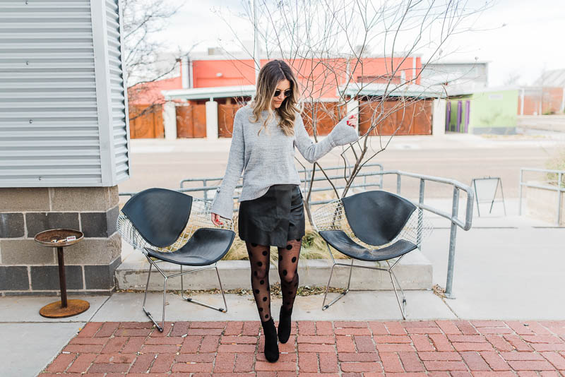 new years eve outfit inspiration // vestique // printed tights // sparkle sweater // sock booties