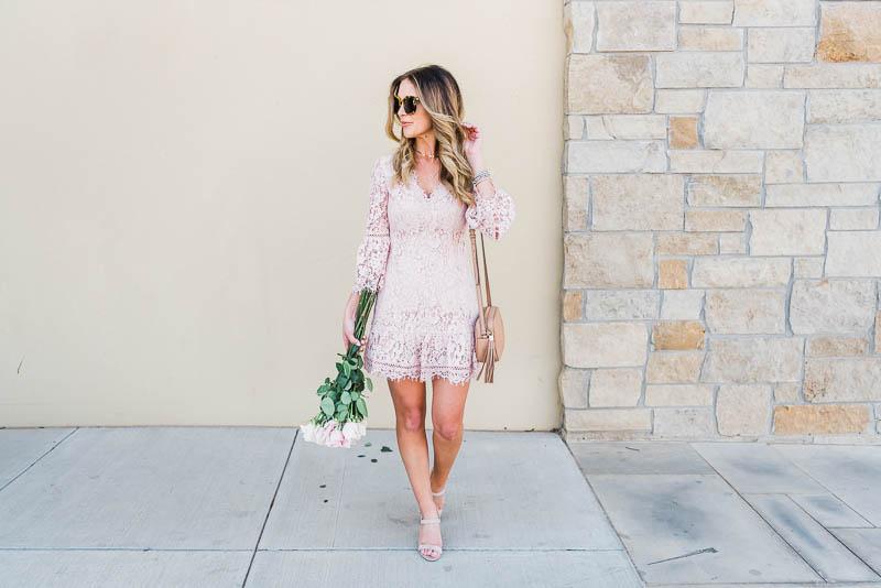 Eliza J Dresses Petite Bell Sleeve Lace Dress