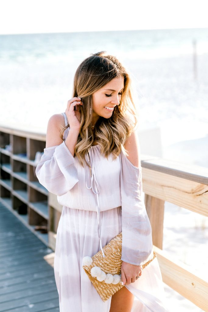 white and grey striped dress