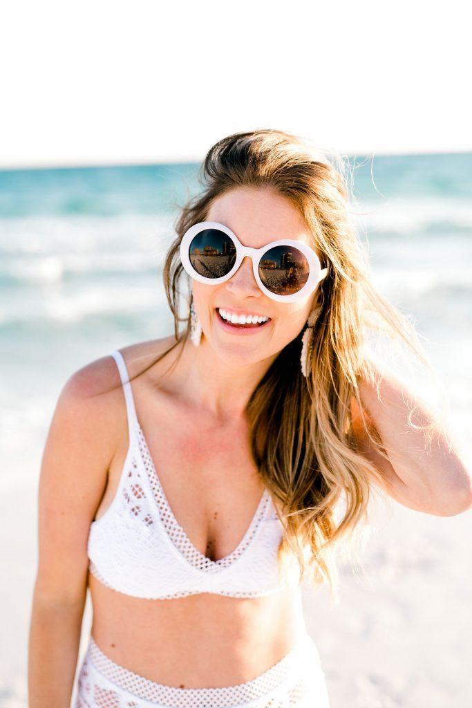 BP. round oval white sunglasses