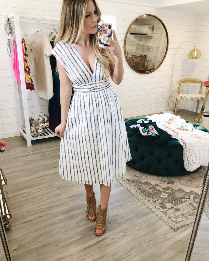 In The Midst Of Summer Blue Striped Dress
