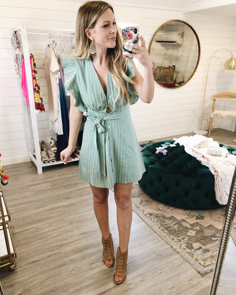 Don't Test It Sage Striped Dress