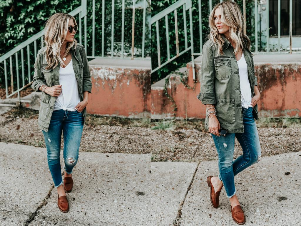 Nordstrom Anniversary Sale 2018 caslon utility jacket white bp tee madewell loafer slides Vigoss jeans