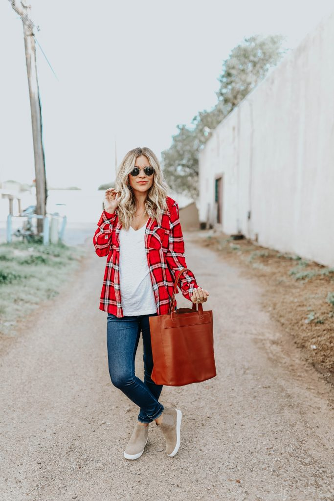 red bp plaid button down shirt