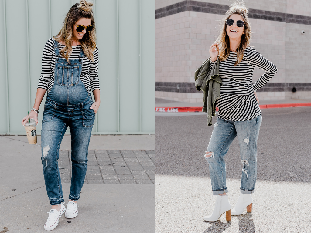 maternity style overalls and boyfriend jeans