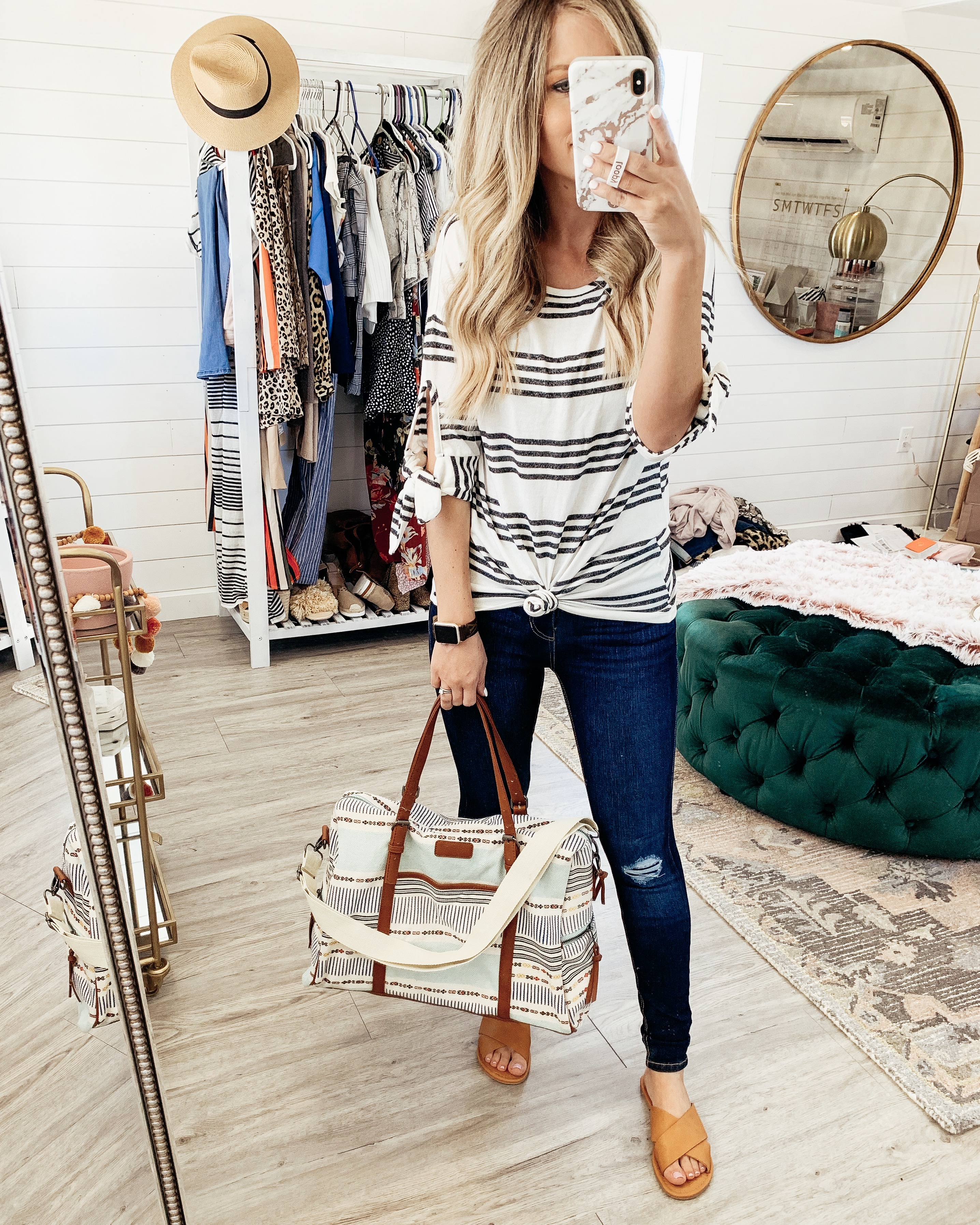 striped shirt and weekender bag from walmart
